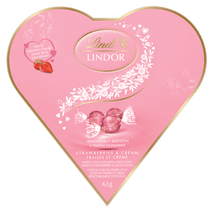 Truffes Cœur Amitié LINDOR au chocolat blanc fraises et crème de Lindt – Boîte de 63 g