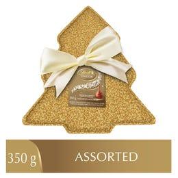 Lindt LINDOR Assorted Chocolate Truffles Sequin Tree Tin, 350 Grams