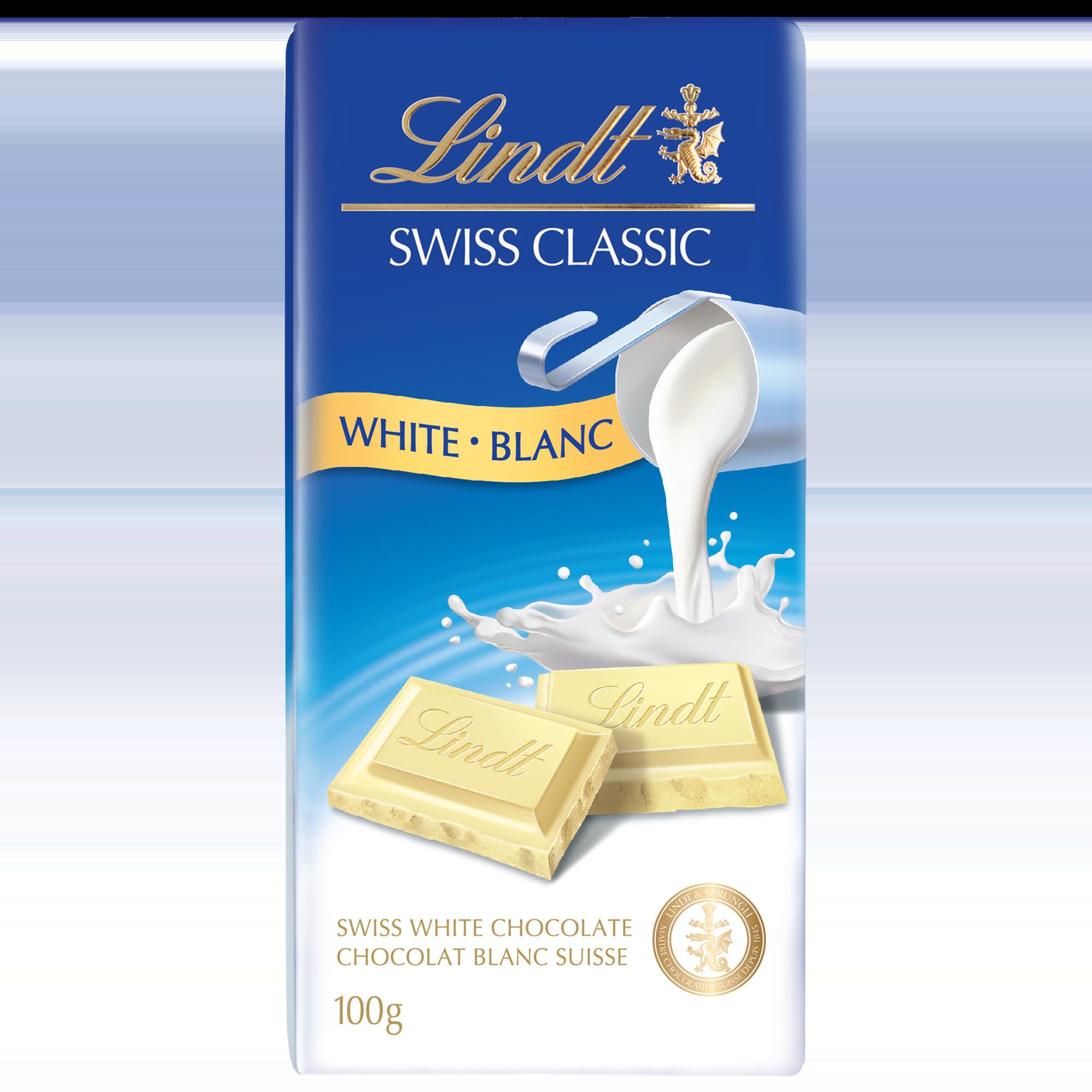 Chocolat blanc Lindt SWISS CLASSIC – Barre 100 g