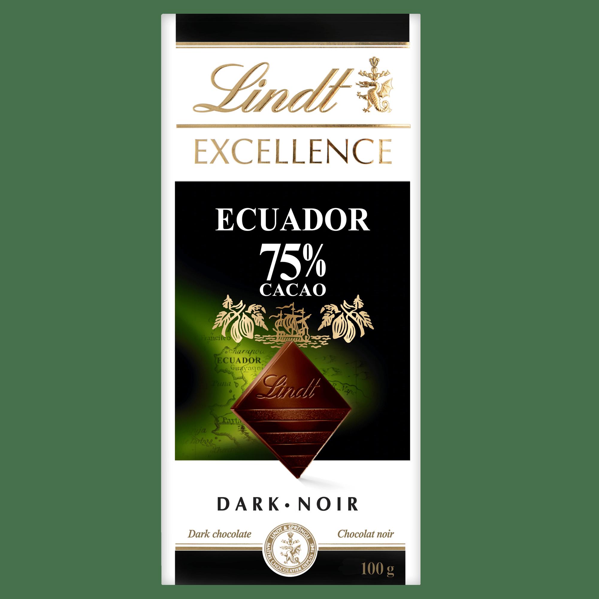 Chocolat noir Lindt EXCELLENCE Ecuador à 75 % de cacao – Barre (100 g)