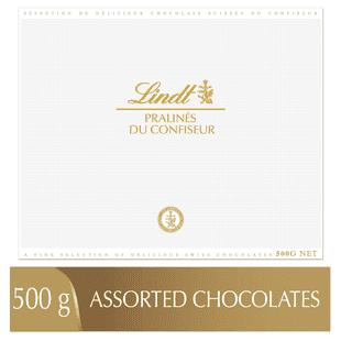 Lindt PRALINÉS DU CONFISEUR Assorted Chocolate Pralines Box, 500 Grams