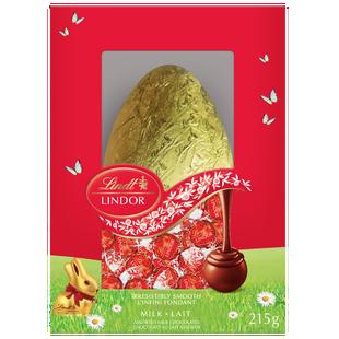 Œuf de Pâques en chocolat au lait LINDOR de Lindt - Boîte de 215 g