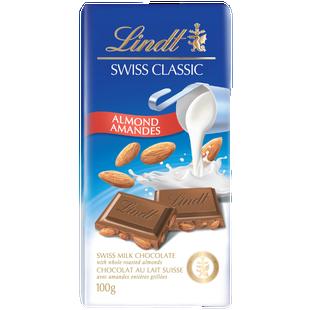 Lindt SWISS CLASSIC Almond Milk Chocolate Bar, 100 Grams