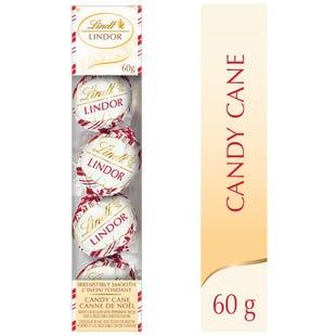Lindt LINDOR White Chocolate Candy Cane Truffle Ornaments, 60-Gram Box