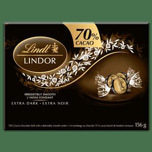Lindt LINDOR 70% Cacao Dark Chocolate Truffles, 156-Gram Box