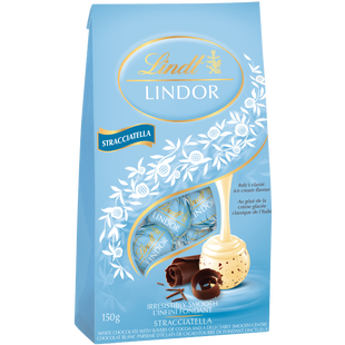 Lindt LINDOR Stracciatella White Chocolate Truffles Bag 150g