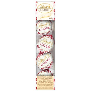 Truffes à suspendre LINDOR au chocolat blanc à la canne de Noël de Lindt– Boîte (60g)