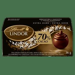 Lindt LINDOR 70% Cacao Dark Chocolate Truffles, 3 Count, 36-Gram Box
