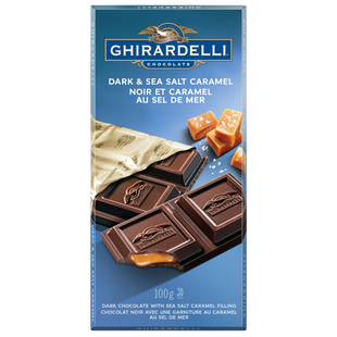 GHIRARDELLI Dark Chocolate Caramel Sea Salt Bar, 100 Grams