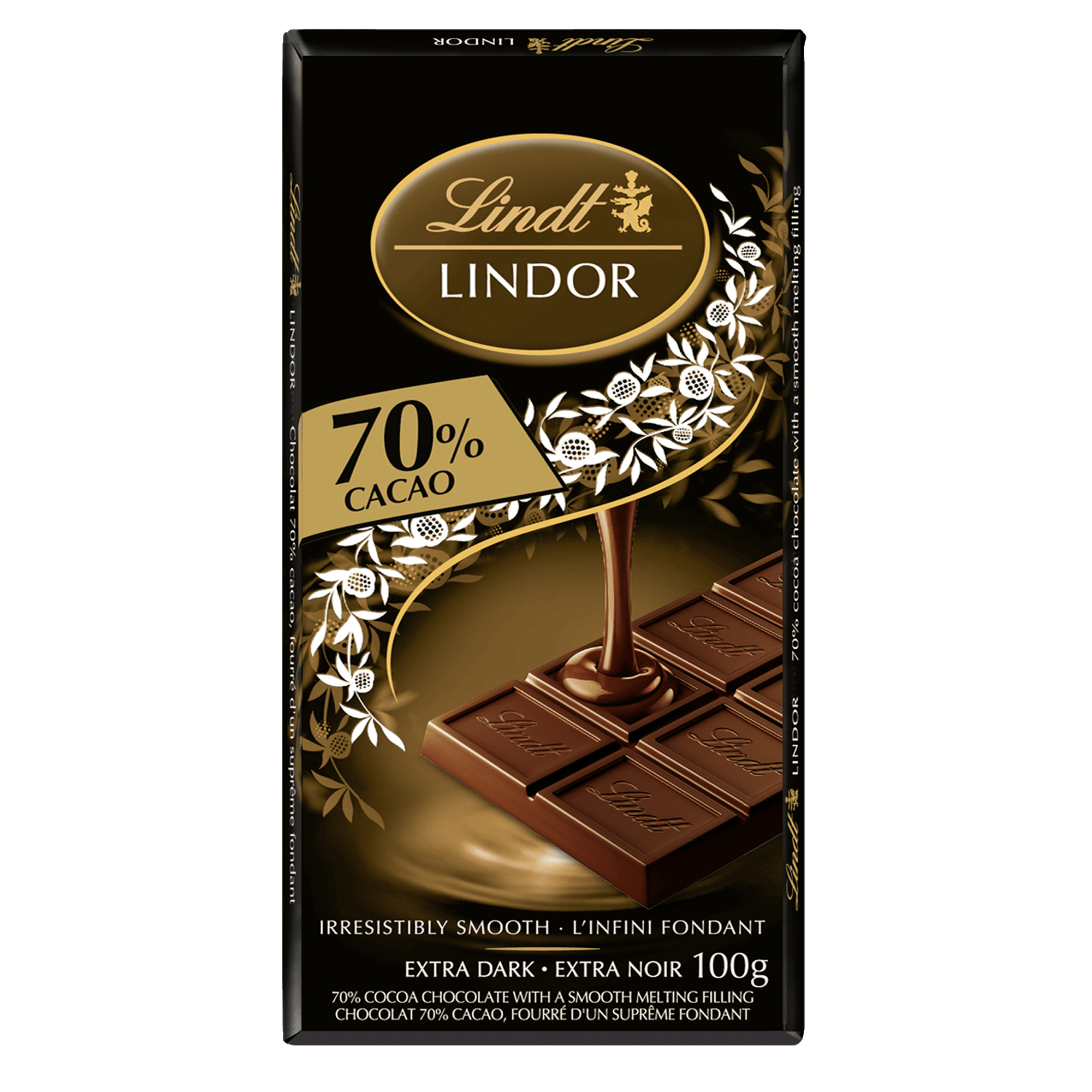 Lindt LINDOR 70% Cacoa Dark Chocolate Bar, 100 Grams
