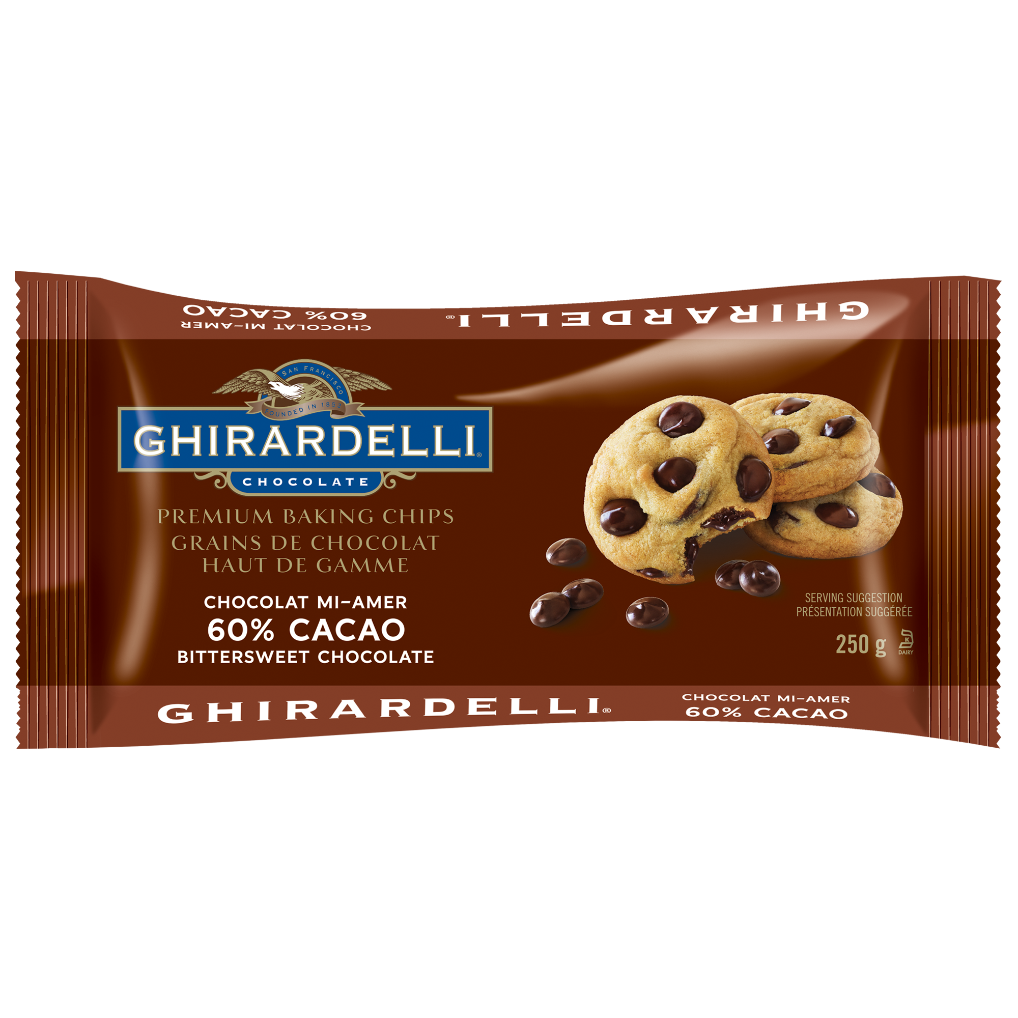 GHIRARDELLI 60% Cacao Bittersweet Chocolate Baking Chips Bag 250g