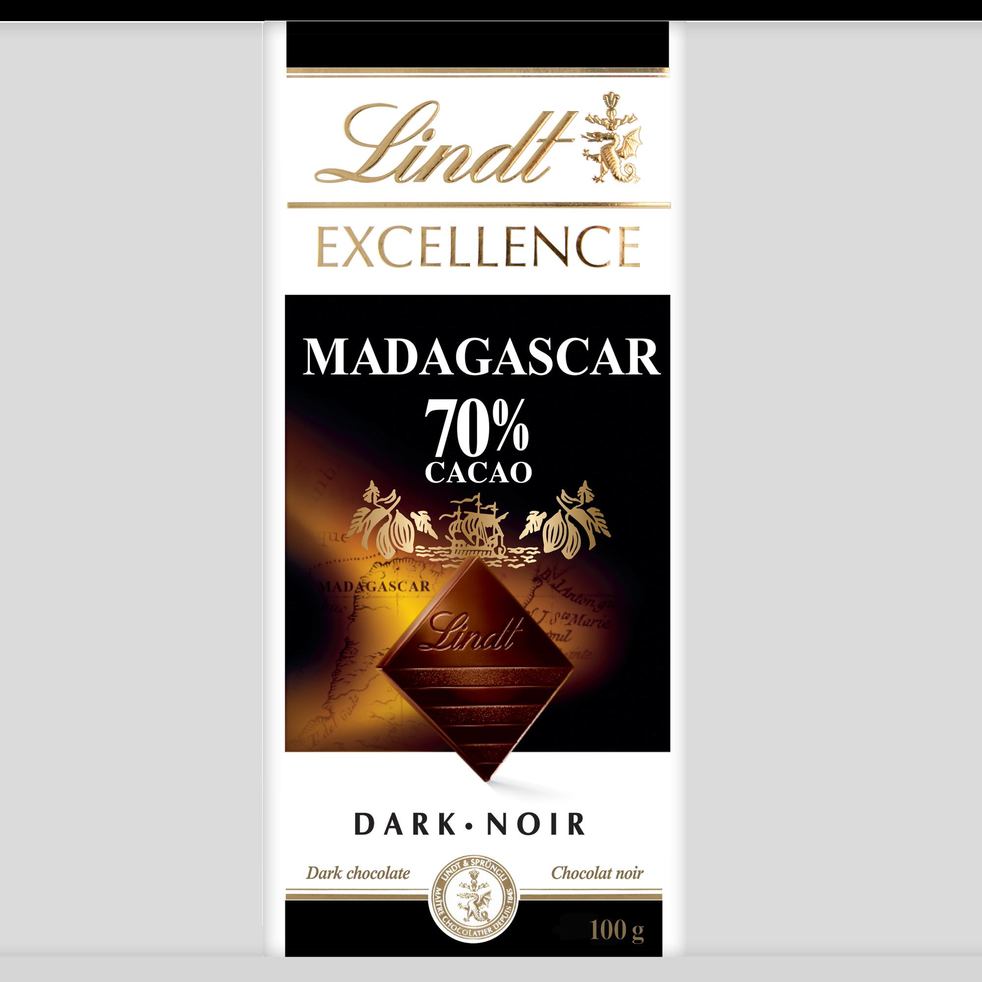 Chocolat noir Lindt Excellence Madagascar à 70 % de cacao – Barre (100 g)