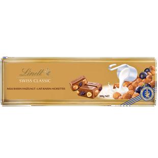 Lindt SWISS CLASSIC Gold Raisin Hazelnut Milk Chocolate Bar 300g