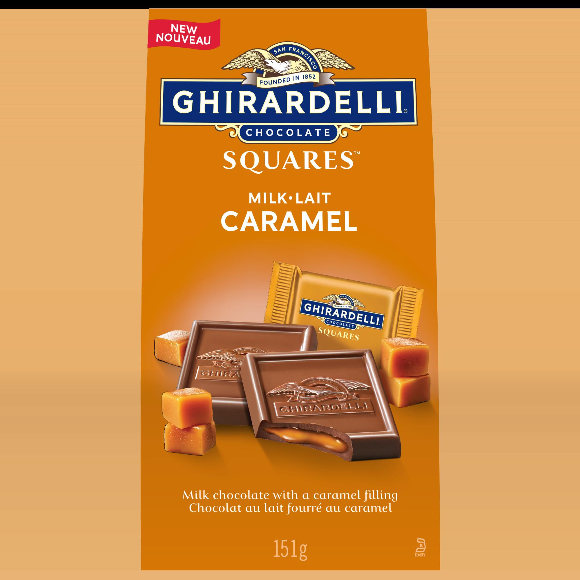 Carrés de chocolat au lait au caramel de GHIRARDELLI– Sachet (151g)