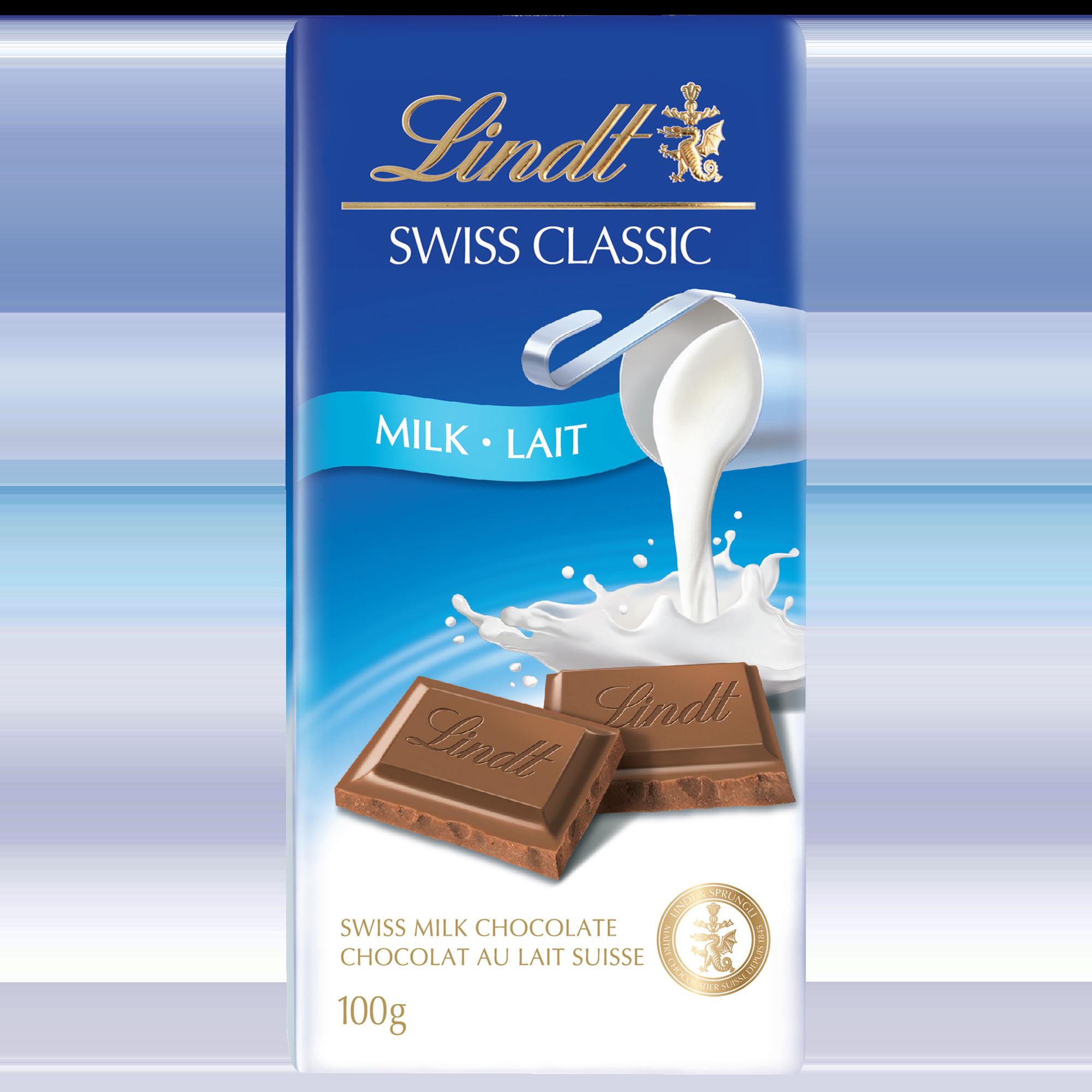 Chocolat au lait Lindt SWISS CLASSIC – Barre 100 g