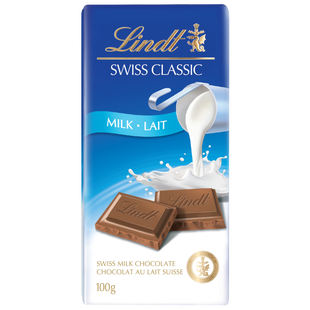 Lindt SWISS CLASSIC Milk Chocolate Bar, 100 Grams