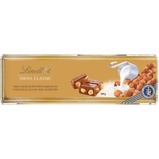 Chocolat au lait avec noisettes Lindt SWISS CLASSIC Gold– Barre (300g)