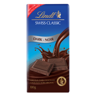 Lindt SWISS CLASSIC Dark Chocolate Bar, 100 Grams