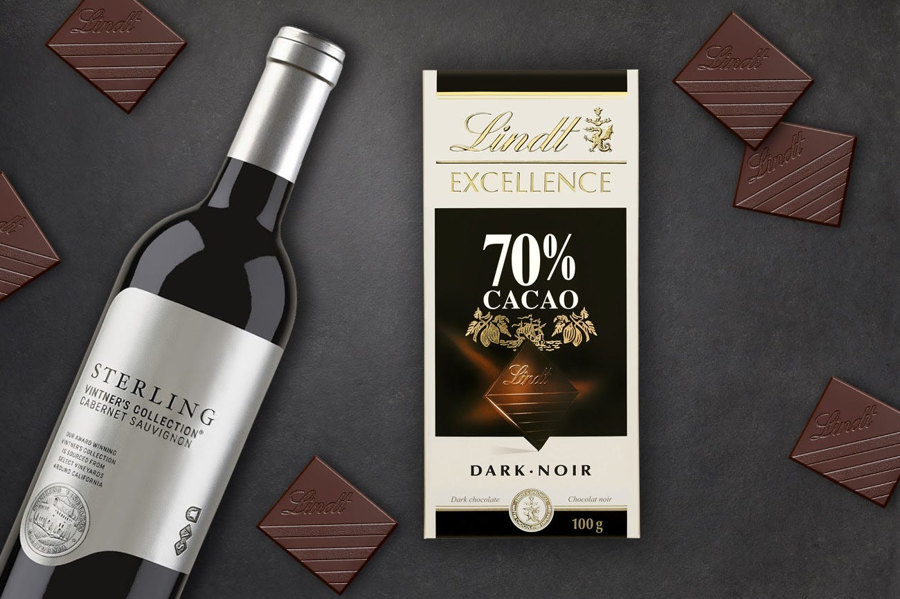 A bottle of Cabernet Sauvignon and a package of Lindt Excellence 70% Cacao Dark chocolate