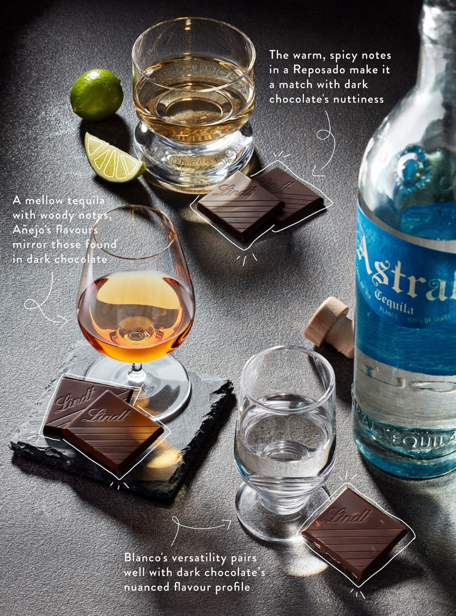 All 3 of the above alcohols in glasses with garnishes and pieces of chocolate next to them