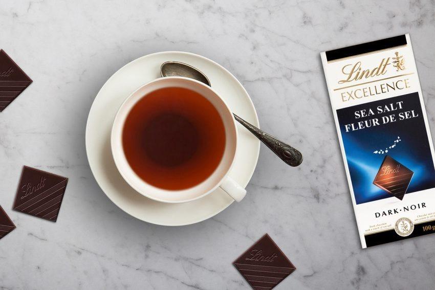 Lindt Excellence Sea Salt Dark Chocolate + Pu'er Tea
