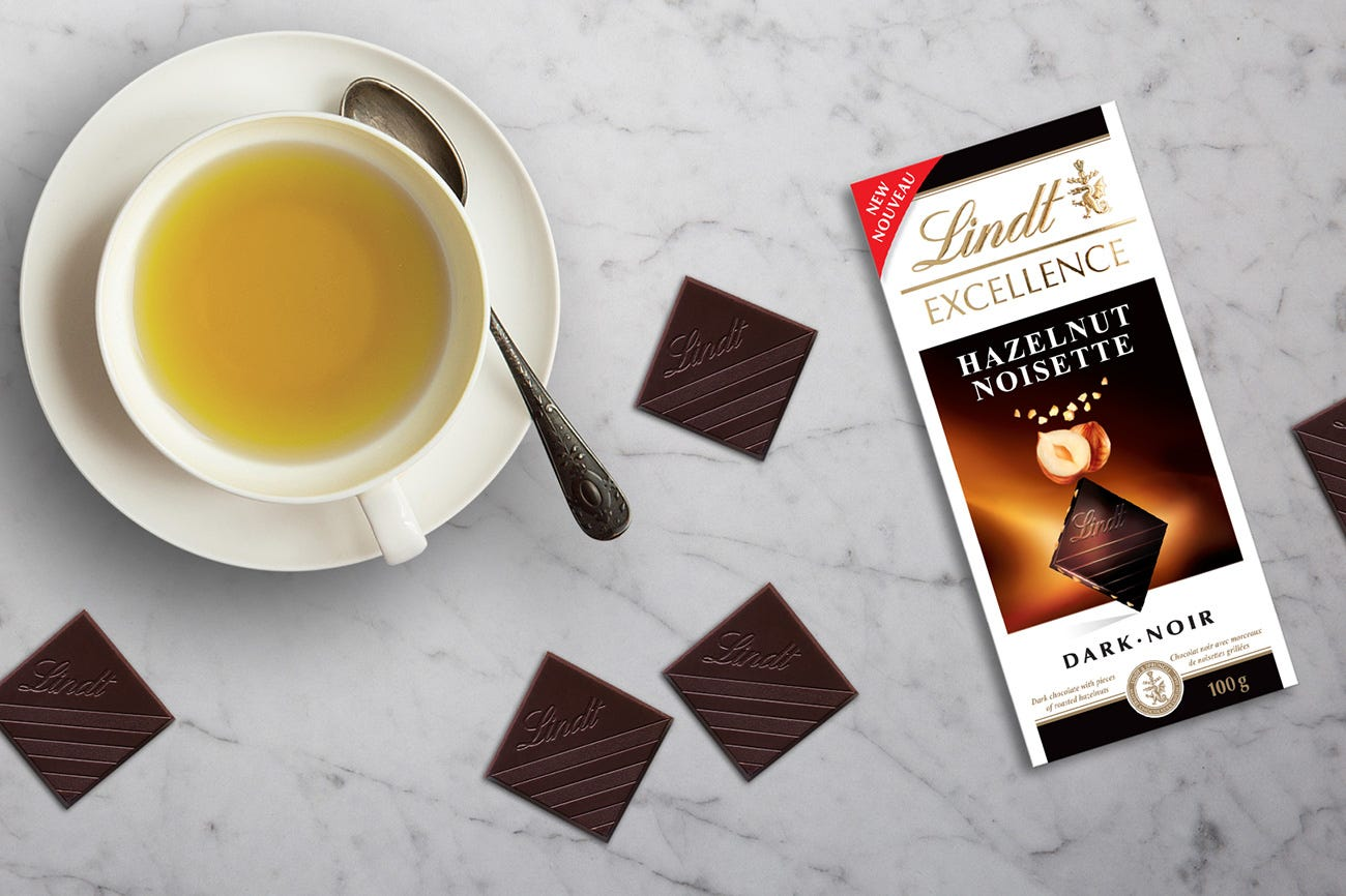 Lindt Excellence Hazelnut Dark Chocolate + Long Jing (Dragon Well) Green Tea