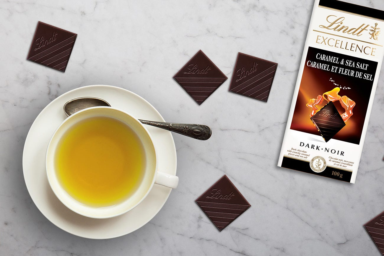 Lindt Excellence Caramel & Sea Salt Dark Chocolate + Milk Oolong Tea