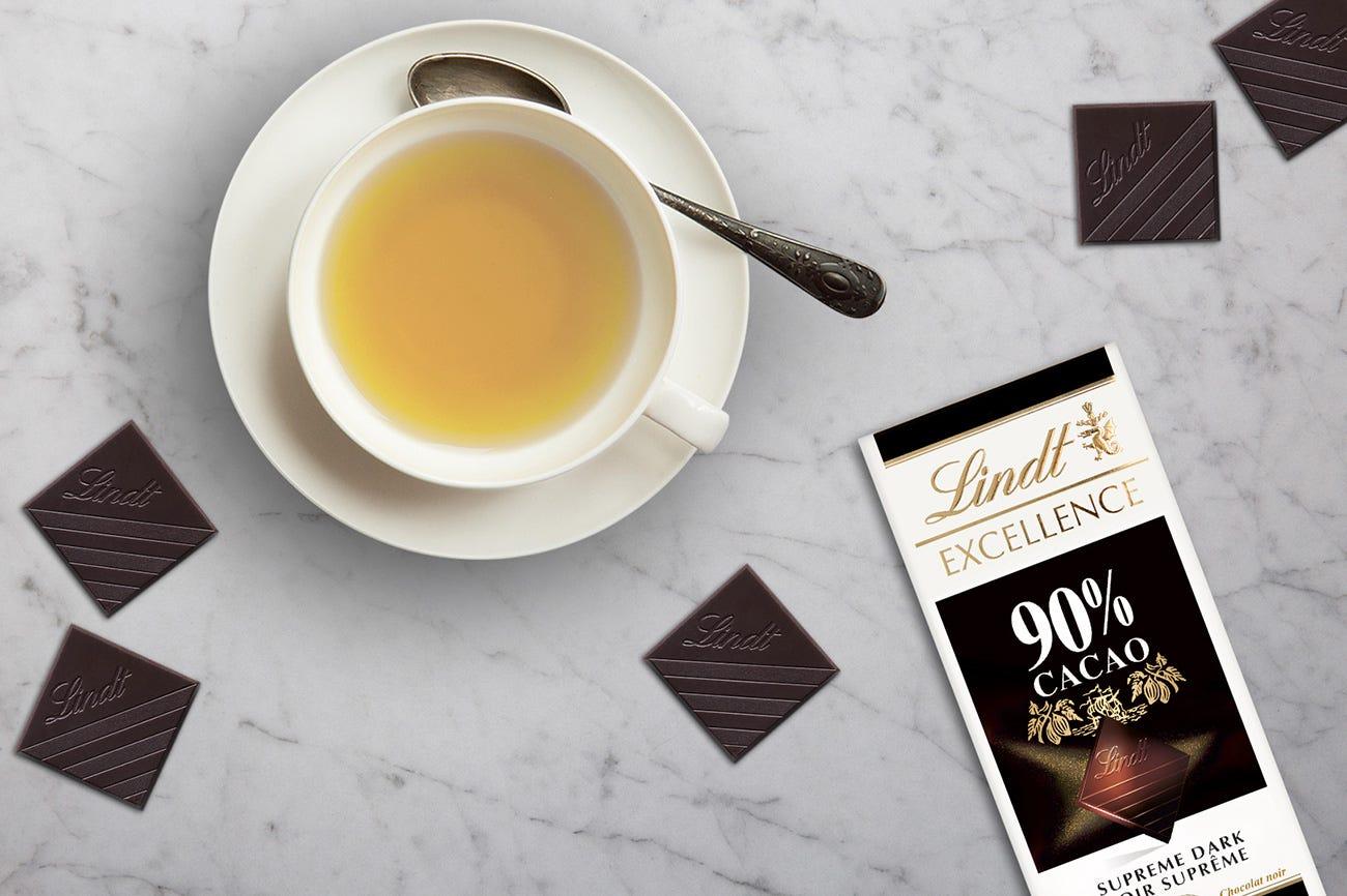 Lindt Excellence 90% Cacao Dark Chocolate + Jasmine Pearls Green Tea