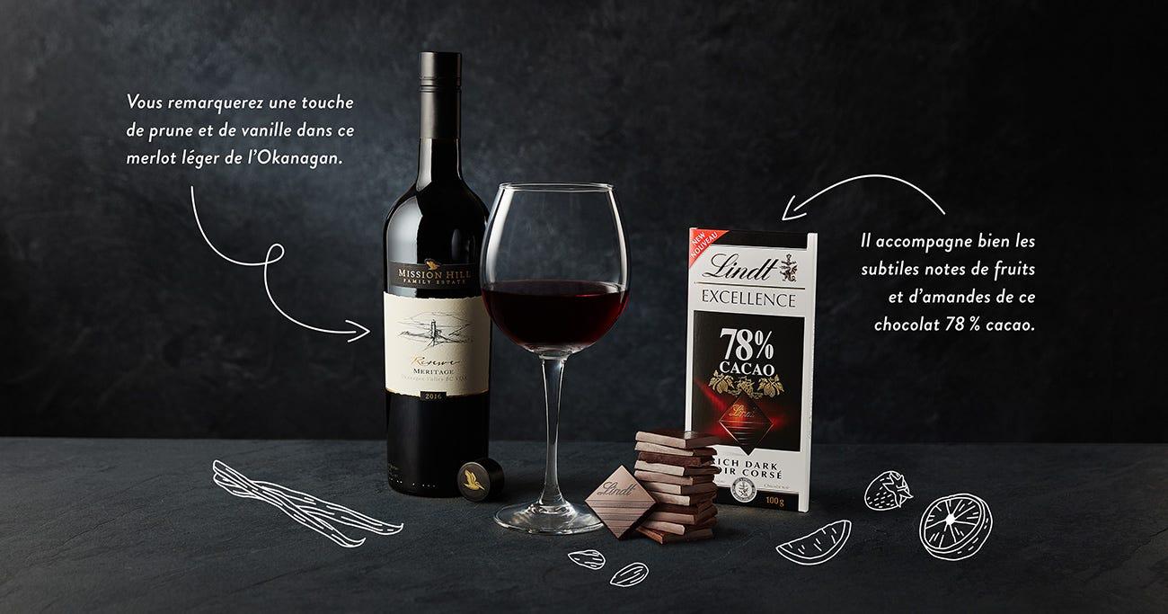 Chocolat noir Lindt Excellence 78 % cacao + Merlot Reserve Mission Hill 2015